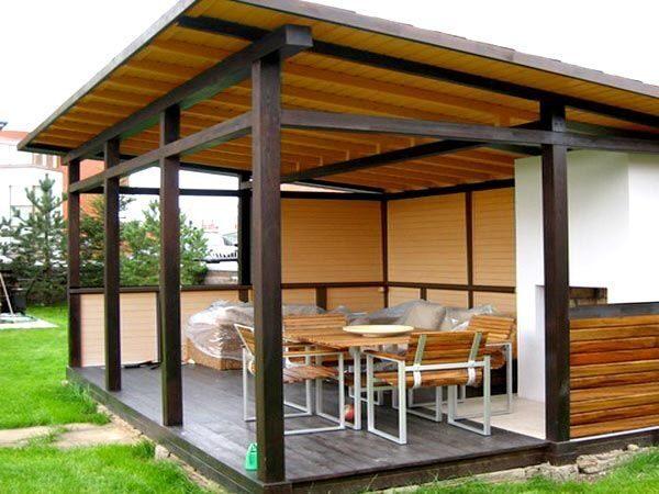 Беседка пристроенная к дому с односкатной крышей